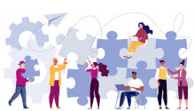 Illustration of people working together to create a large puzzle