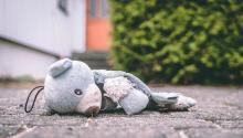 teddy bear on pavement