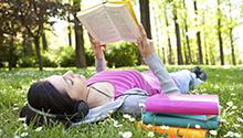 Girl Reading Outside