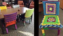 Yarn-bombing chairs