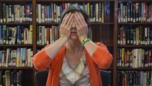 Jenn Carson practicing a yoga method to help stress
