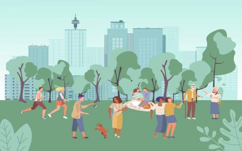Illustration of people in a city park