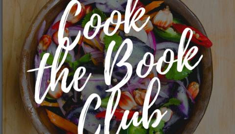 Cook the Book Club text over bowl of food