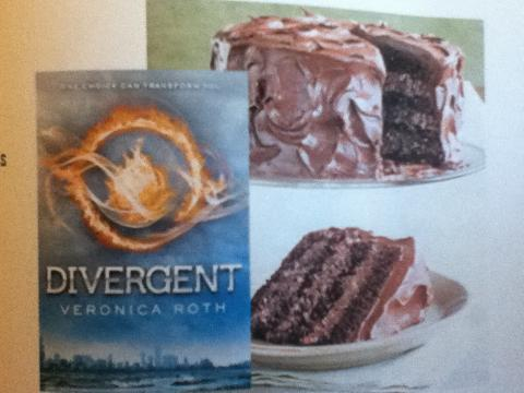 "Grab the book ""Divergent"" and some chocolate cake!"