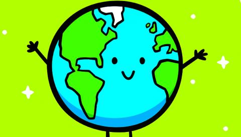 green cartoon globe smiling