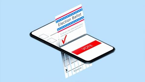 Illustration of an election ballot coming out of a cell phone