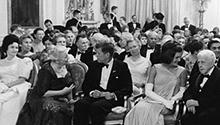 April 29, 1962, dinner for Nobel Prize Winners of the Western Hemisphere with President and Mrs. Kennedy and others in the East Room, White House  Robert Knudsen, White House, in the John F. Kennedy Presidential Library and Museum, Boston