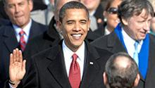 Barack Obama is sworn in as the 44th president of the United States by Chief Justice of the United States John G. Roberts, Jr. in Washington, D.C., January 20, 2009.