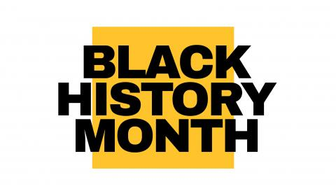 "Black text on yellow square reads ""Black History Month"""