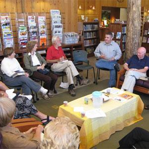 The Portola Valley Library's branch manager leads the afternoon book group discussion San Mateo County Library