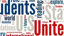 Word cloud: students, unite, international, world