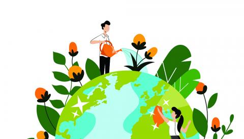illustration of the planet with people tending to plants