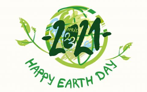 Illustration of green globe with leaves. Text reads: April 22, 2021. Happy Earth Day.