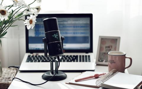 Photograph of microphone and laptop on desk.