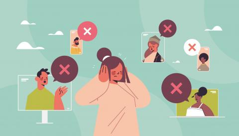 Illustration of person with hands over ears as people talk over her in Zoom chat screens.