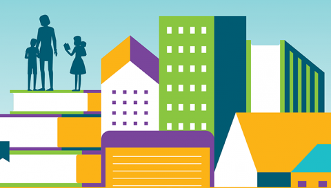 Graphic of people standing on a stack of books with buildings next to them