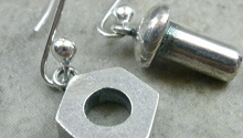earrings made with nuts and bolts