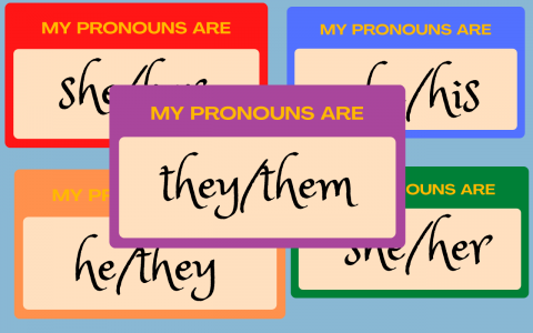 """Illustration of five various """"My Pronouns Are"""" stickers."""