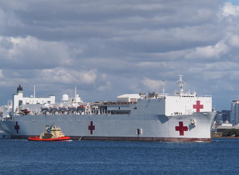 A hospital ship in a harbor