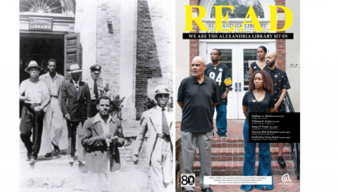 Photo of the five Sit-in participants escorted out of library next to READ poster of their descendants.