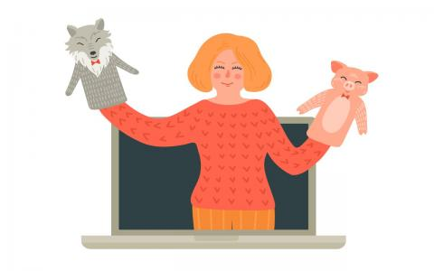 Illustration of person on laptop screen showing animal puppets.