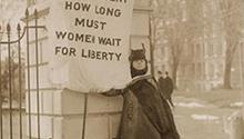 """""""Silent sentinel"""" Alison Turnbull Hopkins at the White House on New Jersey Day, January 30, 1917 (Library of Congress)"""