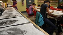 Teens at a drawing workshop