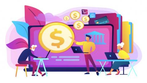 Illustration of people on laptops and money symbols on screen.