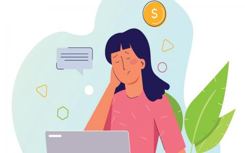 Illustration of person looking stressed on laptop with coin illustrations surrounding the image.