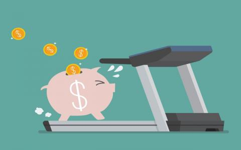 Illustration of piggy bank running on a treadmill with coins coming out of its back.