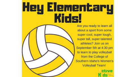 "A poster that reads ""Hey Elementary Kids!"" and has information on a volleyball activity."
