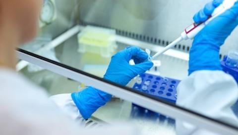 Photo of a scientist working in lab.