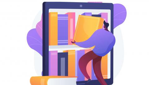 Illustration of person shelving large books inside of a tablet.