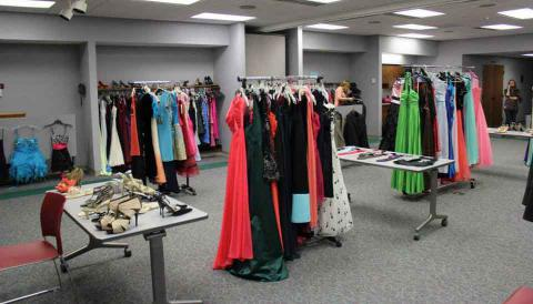 Room of dresses on racks