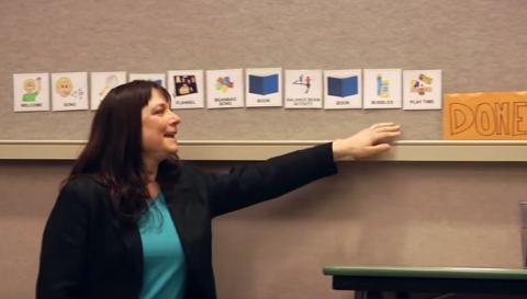 Librarian Tricia Twarogowski presenting Sensory-Friendly Storytime