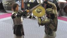 Two knights fight against one another.