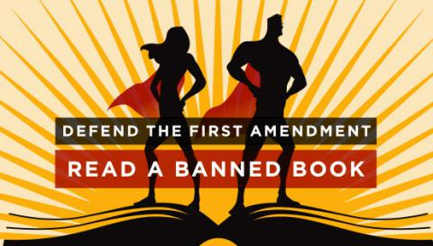 Logo for Banned Books Week featuring superhero silhouettes