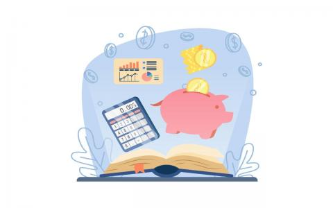 Illustration of an open book with a calculator, pink piggy bank, charts and gold coins.