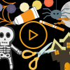 Illustration of a Halloween scene with a video 'Play' button in the middle. There is an illustration of a skeleton, pair of orange scissors, orange pain, orange marker and illustrations of a haunted house against a black backdrop.