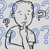 Illustration of person thinking on a gray background surrounded by blue question marks.