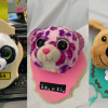 Photograph of three final Stuffed Animal Taxidermy boards. Left to right: Panda stuffed animal, Pink Leopard on pink board, Dog on green board
