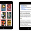 Image of side a book reading application on a tablet.