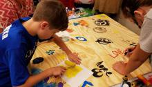Creating street art using stencils and paint
