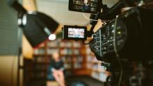 Filming in the library
