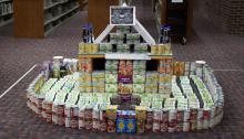 Model of building, made from canned and non-perishable foods