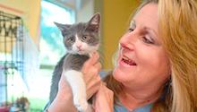Patron with kitten