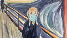 "Edvard Munch's ""The Scream"" wearing a face mask."
