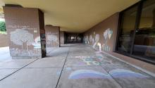 Photo of outdoor escape room, chalk drawing