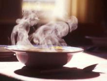 Steaming hot soup