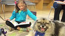Child reading to fluffy dog